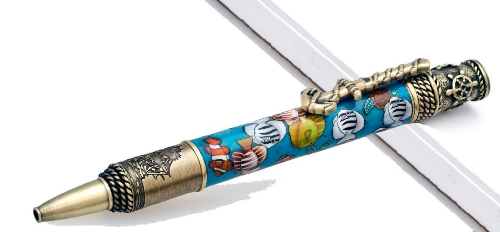 Nautical Sea Scape Pen in Brass