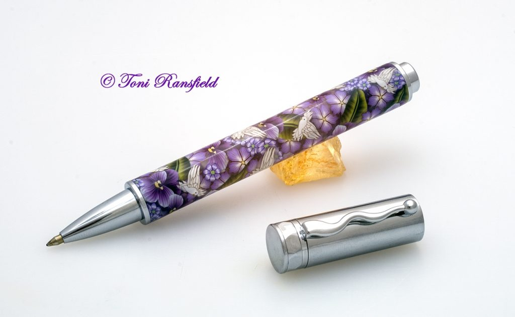 Purple Pansy with Doves Rollerball