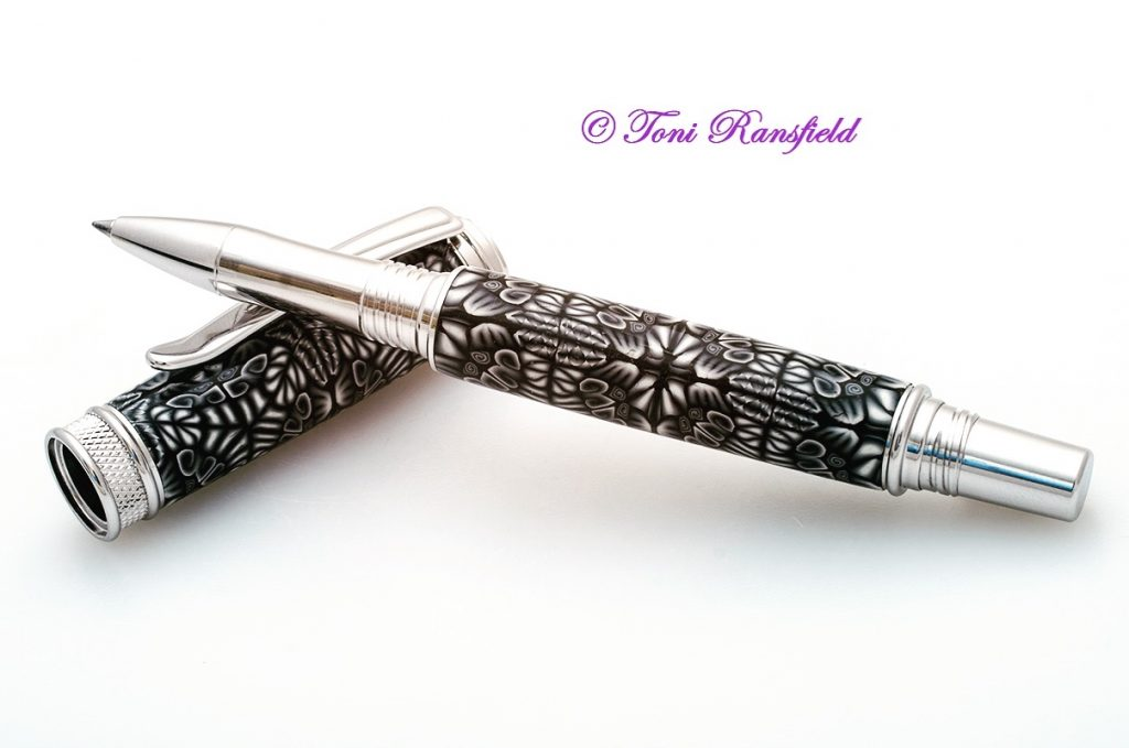 Black and White Kaleidoscope RollerBall Pen