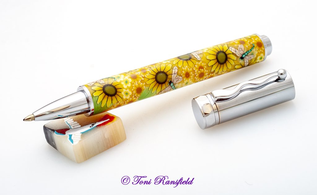 Yellow Sunflowers with Dragonflies Rollerball