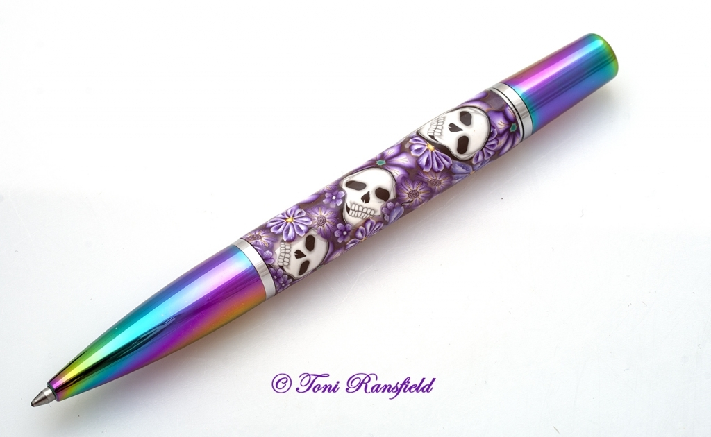 Purple Floral Skulls