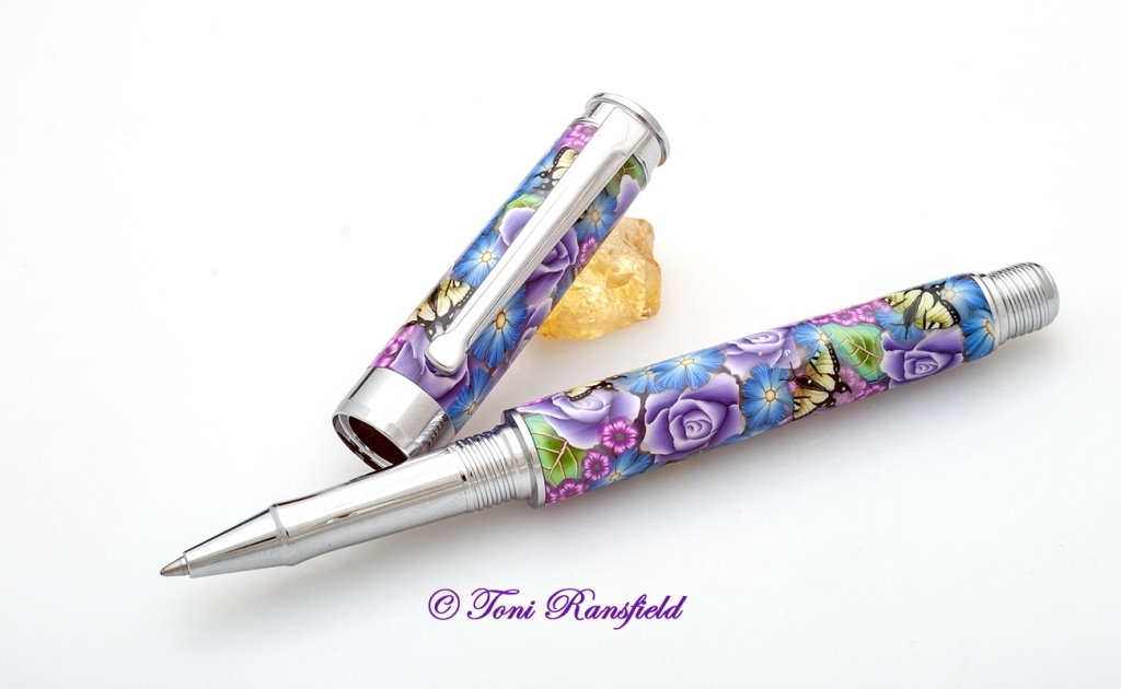 Purple Rose with Yellow Swallowtails Rollerball